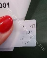 Etichette di sicurezza VOID anti effrazione ERIE 60X30mm busta  da 100 pezzi per € 0,75 cad.